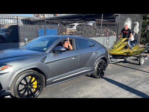 GOLD Jet Ski towed by a Lamborghini through a DUI Checkpoint.