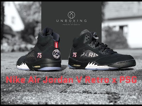 nike-air-jordan-5-retro-x-psg-'black/red-challenge-white'-|-unboxing-&-on-feet-|-fashion-shoes