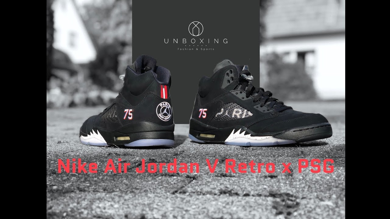free shipping ec3b3 8f8f3 Nike Air Jordan 5 Retro x PSG 'black/red challenge-white' | UNBOXING & ON  FEET | fashion shoes