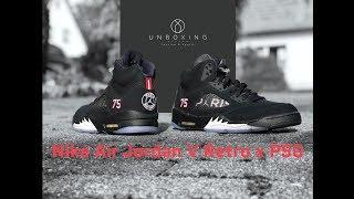 Nike Air Jordan 5 Retro x PSG 'black/red challenge-white' | UNBOXING & ON FEET | fashion shoes