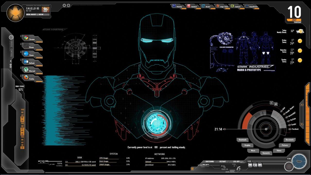 How To Install RainMeter with Iron Man/Tony Stark J.A.R.V.I.S Background Windows 8 - YouTube