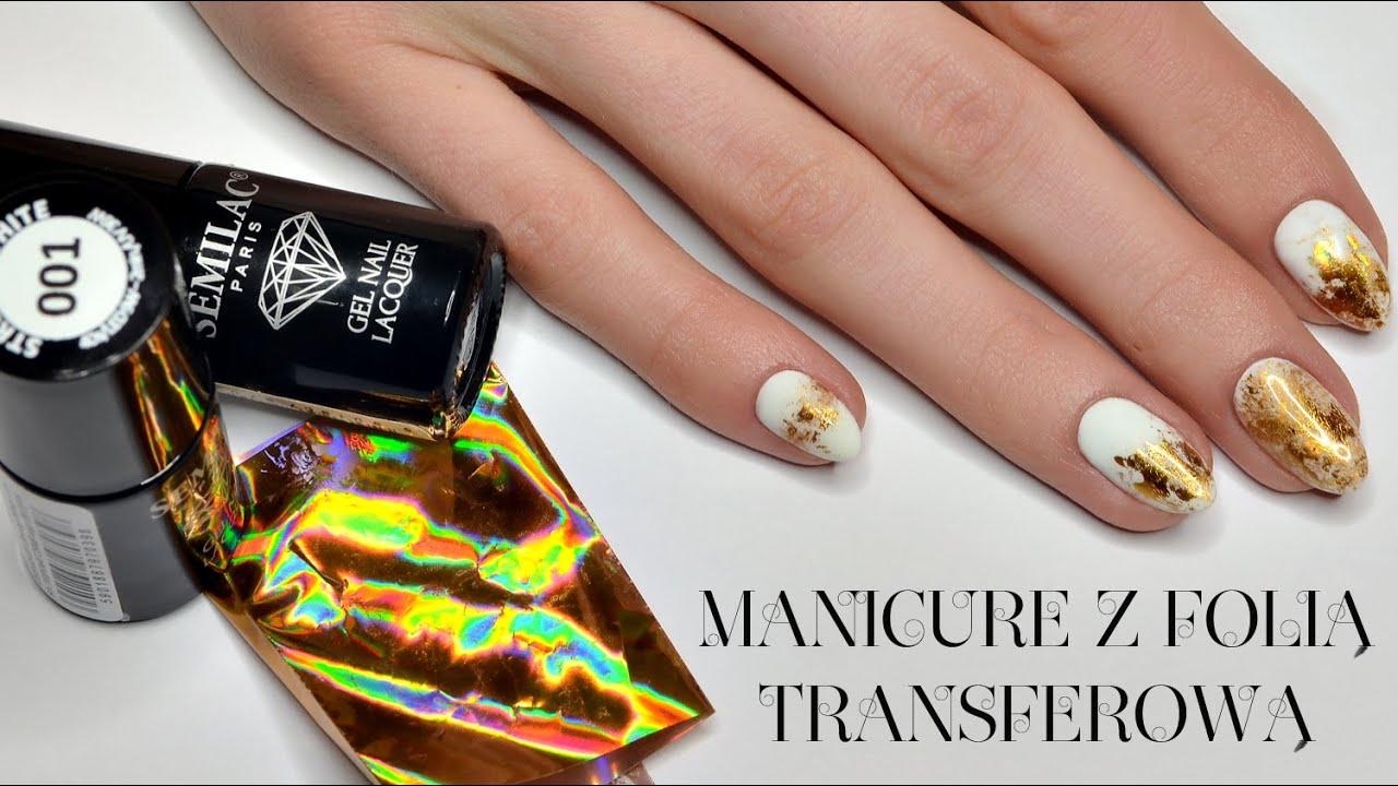 Manicure Hybrydowy Biel Ze Zlotem Z Uzyciem Folii Transferowej