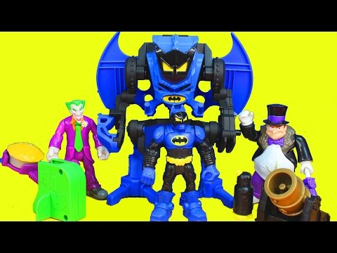 Fisher Price Hero World DC Batman With Robot Exoskeleton Joker Penguin Launcher