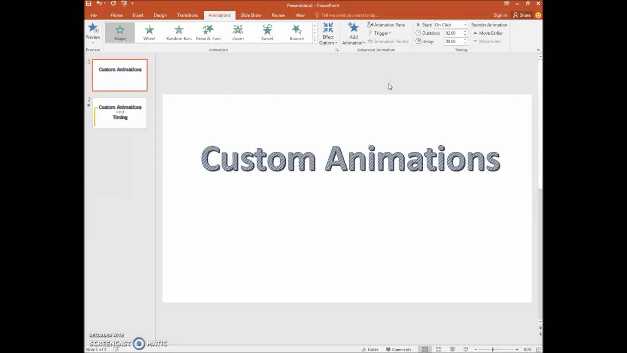 how to apply custom animations and timing using ms powerpoint 2016