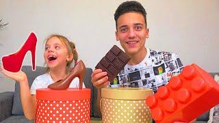 Шоколадное против Настоящего ЧЕЛЛЕНДЖ Настя и Саша придумывают ЗАДАНИЯ родителям My little Nastya