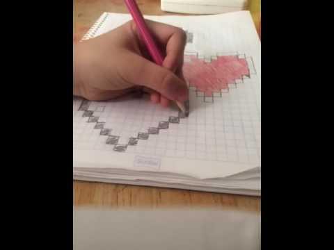 Totorial  Como dibujar un Corazn de Minecraft en hoja