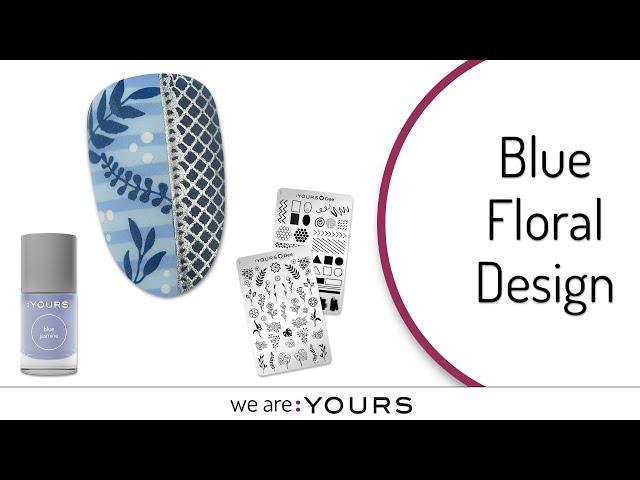 STAMPING NAIL ART l BLUE FLORAL DESIGN