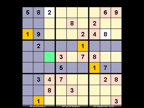 How to Solve Washington Times Sudoku Difficult September 20, 2020