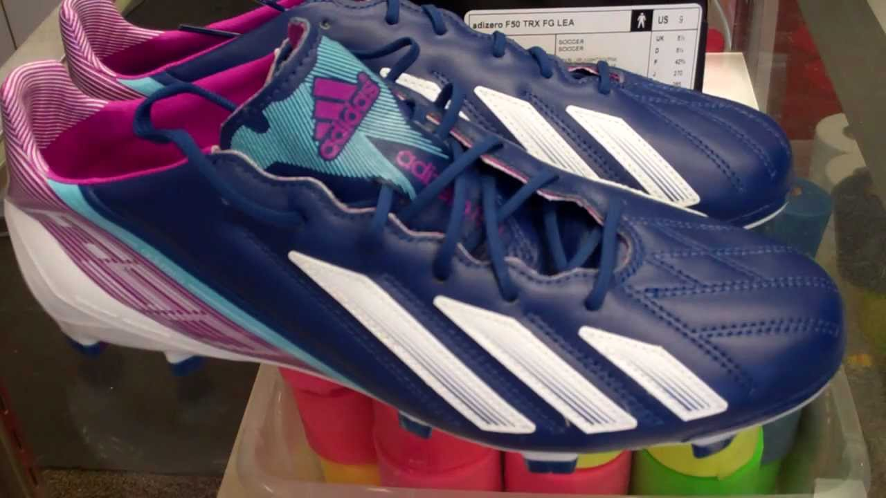2a2552ab6 Adidas F50 adiZero Leather (Dark Blue - White - Vivid Pink) - YouTube
