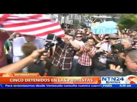 Al menos cinco detenidos durante protestas en contra de la visita de Trump a San Diego, California