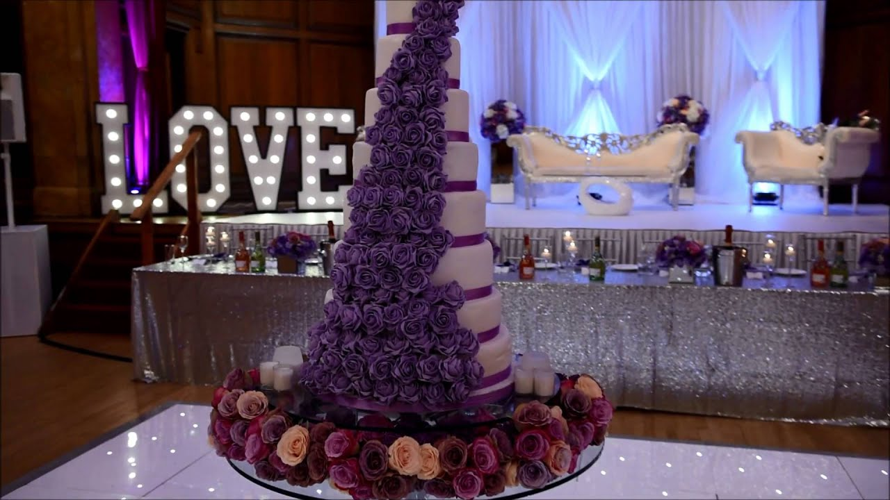 James And Nicola Navy Lilac Silver Modern Wedding Decorations At Porchester Hall London You