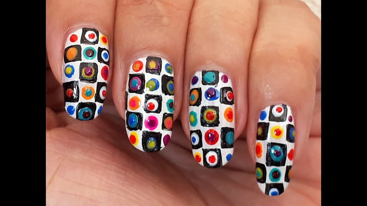 Image result for nail Colorful Checkered Print