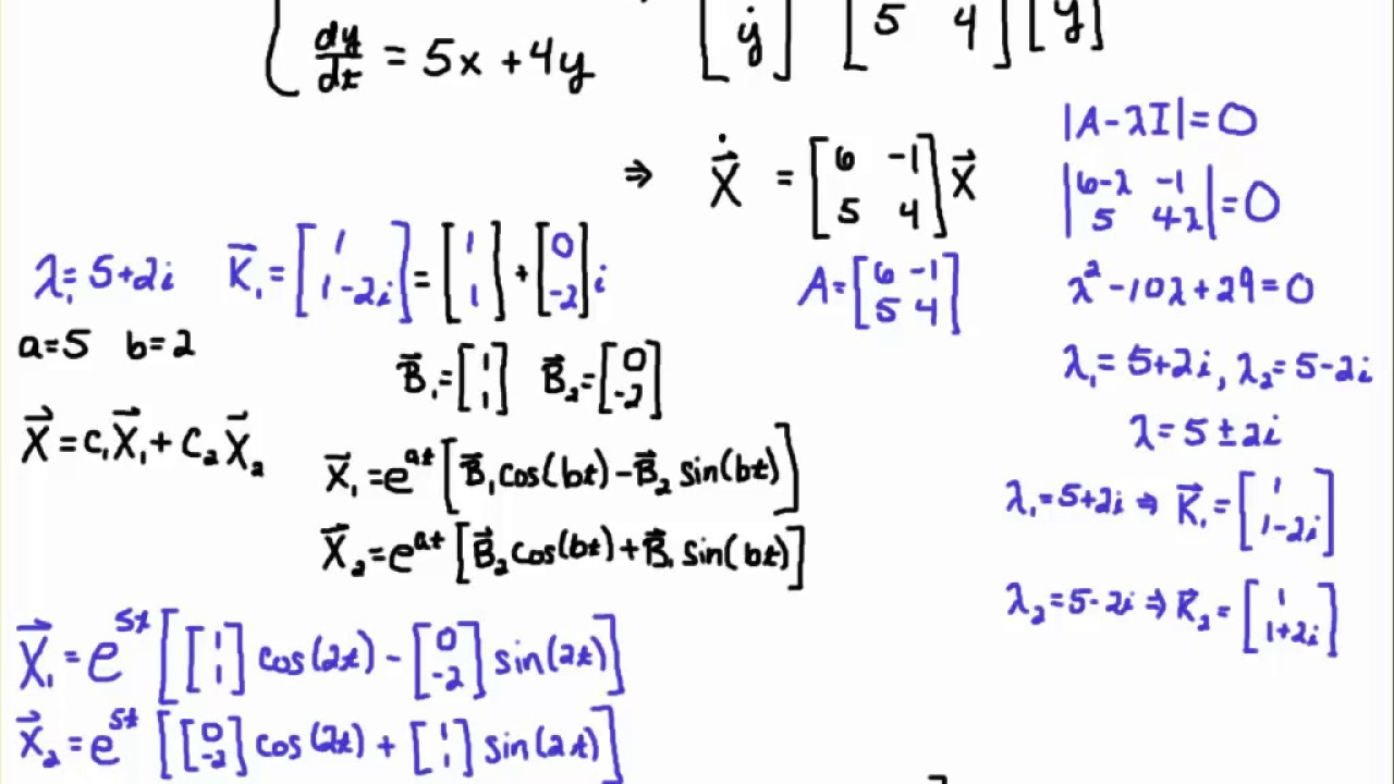 Solve a First-order Linear System of ODEs (Complex Distinct Case)