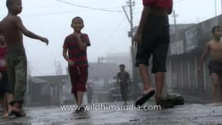 Soccer in the rain in Cherrapunji