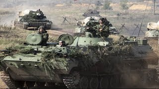 Russian military equipment in the battlefield