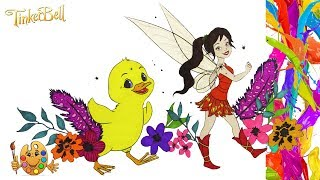 Tinker Bell : Fairy Fawn with Duckling   Coloring pages for kids   Coloring book  