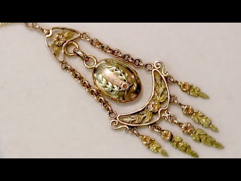 18 ct Yellow and Rose Gold Locket - Antique French Circa 1880 - A9214