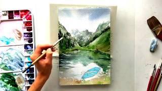 Рисуем горы акварелью watercolor painting