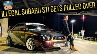 ILLEGALLY MODIFIED SUBARU STI GETS PULLED OVER!!!   (illegal stickers???)