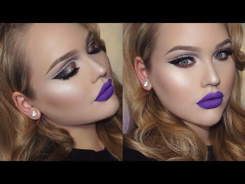 Glittery Double Cut Crease & Purple Lips Holiday Makeup