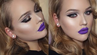 Glittery Double Cut Crease & Purple Lips Holiday Makeup