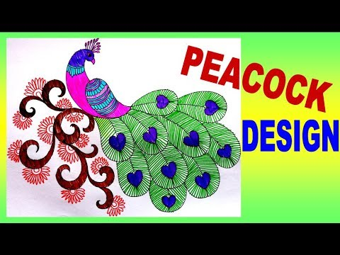 How To Draw Peacock With Beautiful Feather Design || Colour Pen