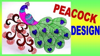How To Draw Peacock With Beautiful Feather Design    Colour Pen