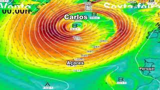 Tempestade Carlos sobre os Açores.
