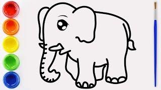 Dibujar y colorear el elefante Aprende los colores con dibujo para niños