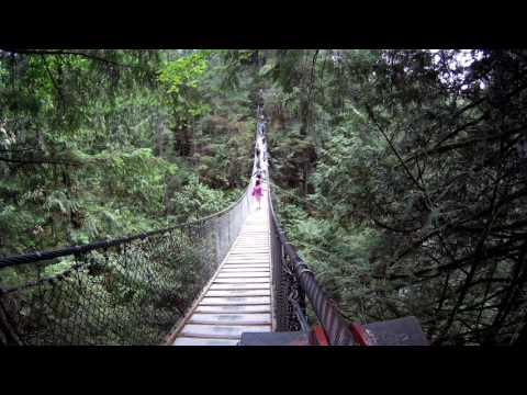 People Walking on the Lynn Canyon Suspension Bridge, North Vancouver, British Columbia, Canada