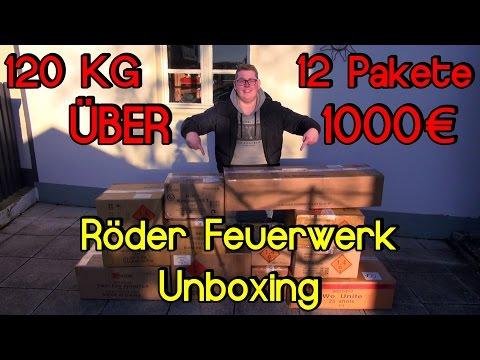 ÜBER 1000€ | 120 KG | 12 Pakete | Röder Feuerwerk Unboxing Silvester 2016/2017