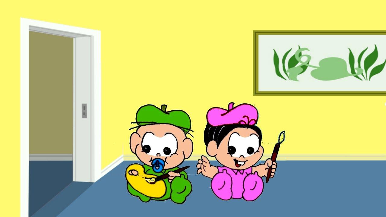 Turma Da Monica Baby Desenho Monica E Cebolinha Bebes Pintores