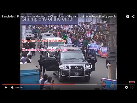 Bangladesh Prime minister Hasina, the Champions of the earth got huge Reception by people