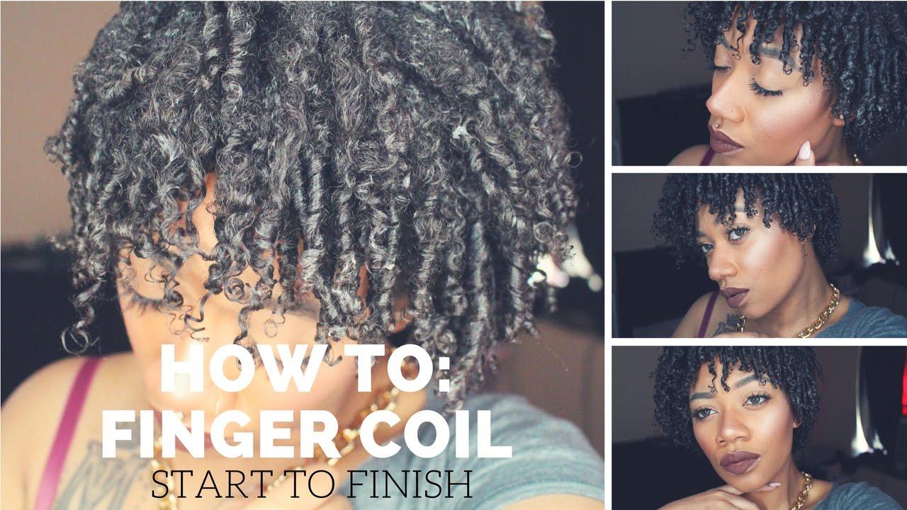How To Finger Coils Natural Hair Short To Medium Length Hair