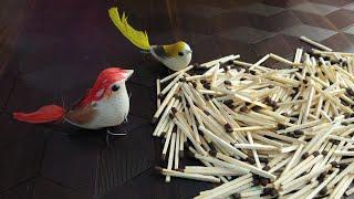 DIY Bird's Nest from Match Stick/ DIY Match Stick Crafts/ चिड़िया कैसे बनाएगी माचिस की तीली से घोसला