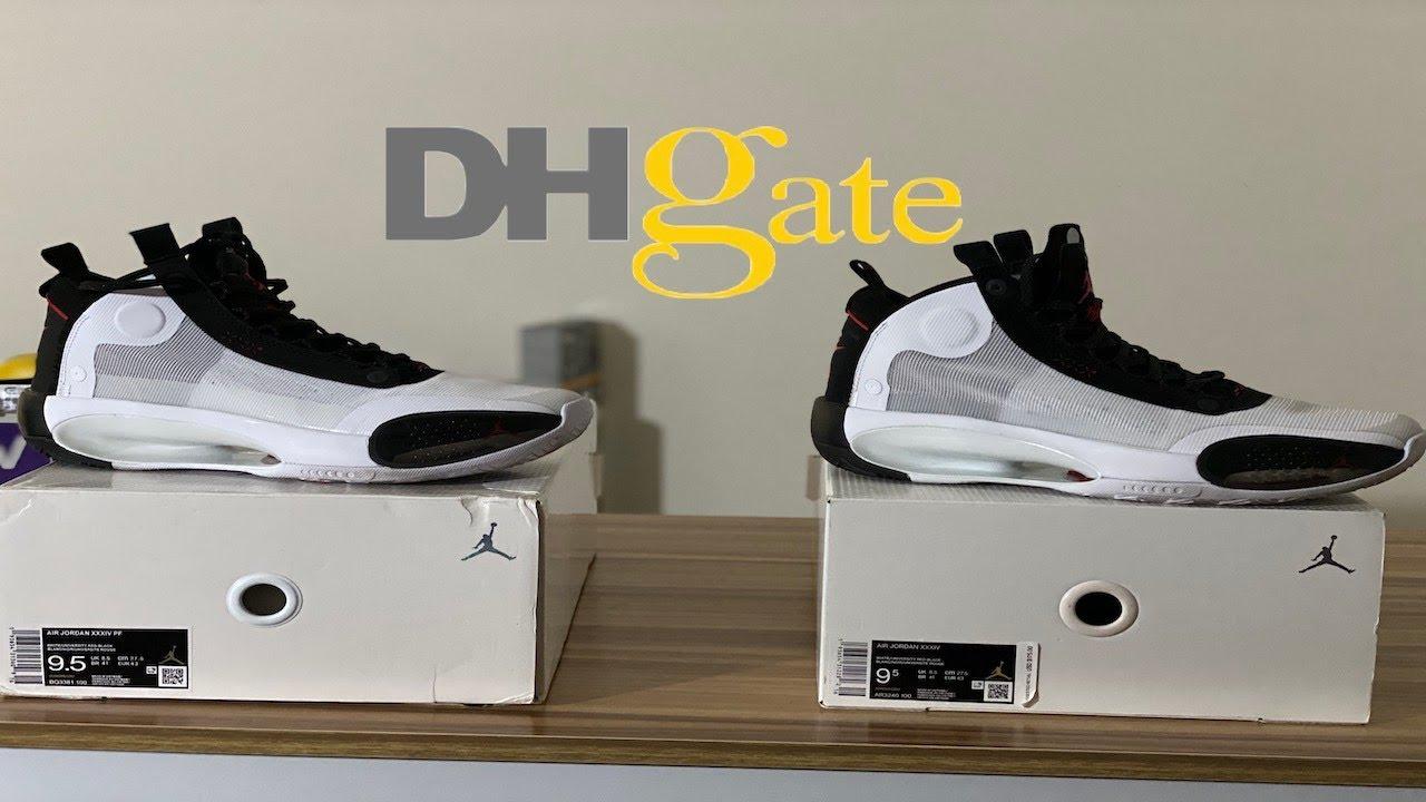 DHgate Air Jordan 34 vs Authentic - YouTube