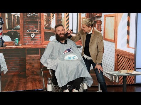 Walter Brown - Big beard gone! Ellen shaves the Patriots Julian Edelman (Superbowl MVP.)