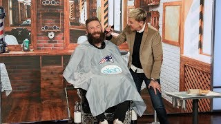 In a daytime TV exclusive, Super Bowl MVP Julian Edelman sat down with Ellen to talk about helping the New England Patriots win their 6th championship, posing naked for a photo shoot, and he even offered to let Ellen shave his much talked about beard to raise money for the Boys & Girls Club of Boston. The wide receiver also got a special gift... he finally received his coveted trophy for being named MVP!  #JulianEdelman #Patriots #TheEllenShow