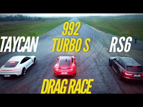DRAG RACE : 992 Turbo S VS RS6 VS Taycan Turbo S