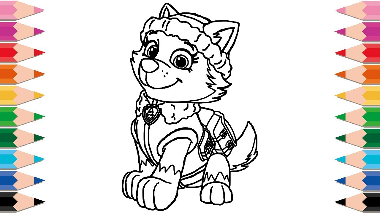 How to Draw Paw Patrol Everest for Kids Happy Family ...