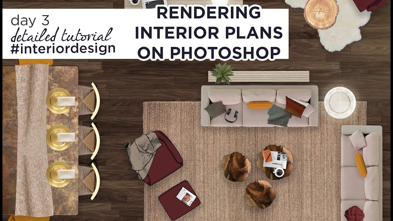How To Color Render Interior Design Plans On Photoshop Detailed Tutorial Youtube