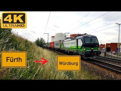 【4K】 Führerstandsmitfahrt Fürth HBF nach Würzburg HBF über Neustadt an der Aisch,Kitzingen