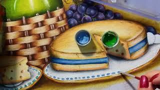 Garrafão uvas e queijo – Vídeo 5 – Pintura em tecido