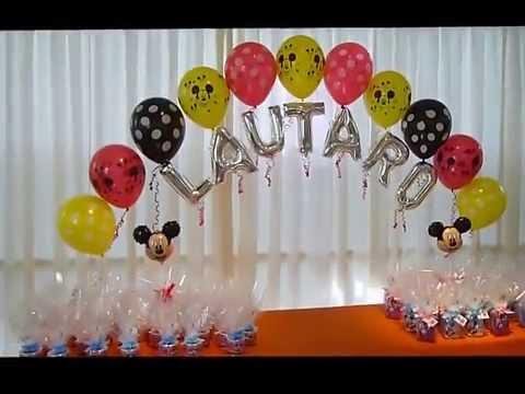 Ambientacion  con globos de MICKEY.Curso de decoración con globos