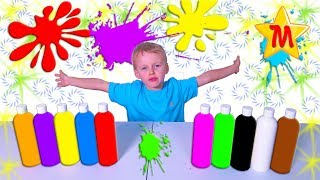 Max Plays with paint bottles Fun Education For Kids
