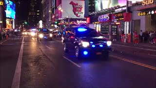 Convoy Of FBI Or United States Secret Service Federal Units Responding On 42nd St In Manhattan