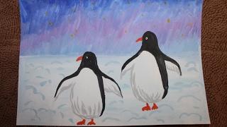 как нарисовать пингвинов в Арктике