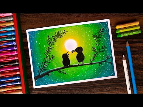 Mother's Love Drawing for beginners with Oil Pastels step by step