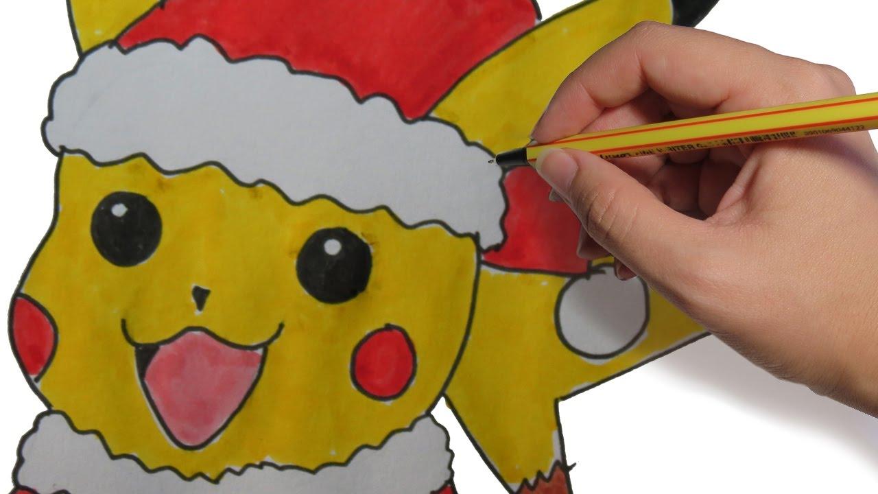 Como Dibujar A Pikachu Navideno Paso A Paso Facil Dibujos De