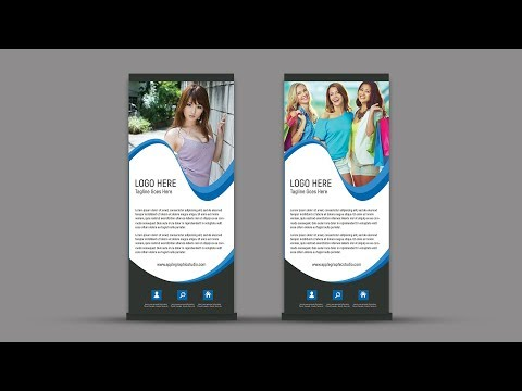 Design Corporate Roll Up Banner In Photoshop - Graphic Design Tutorial